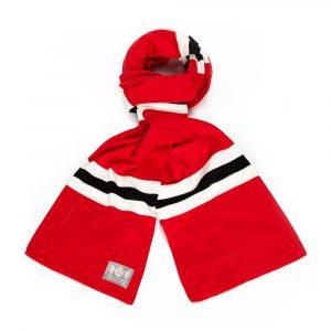 Savile Rogue Faithful Red White and Black Cotton-Merino Football Scarf