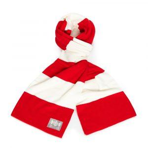 Savile Rogue Faithful Red and White Cotton-Merino Football Scarf