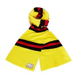 Savile Rogue Faithful Yellow Black and Red Cotton-Merino Football Scarf
