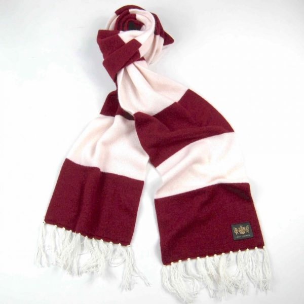 Savile Rogue Claret and White King Cashmere Football Scarf