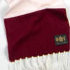 Folded Savile Rogue Claret and White King Cashmere Football Scarf