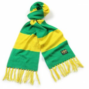 Savile Rogue Green and Yellow King Cashmere Football Scarf