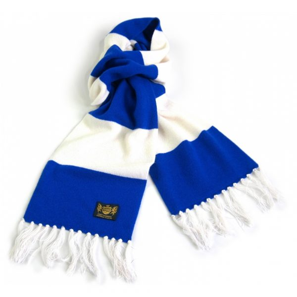 Savile Rogue Royal Blue and White King Cashmere Football Scarf