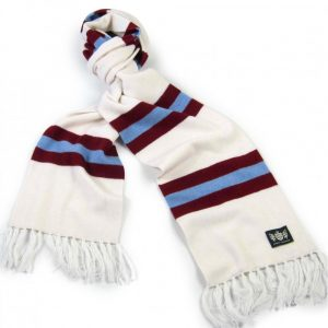 Savile Rogue White Claret and Sky Blue King Cashmere Football Scarf