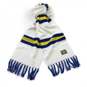 Savile Rogue White Yellow and Blue King Football Cashmere Scarf in the colours of Leeds United