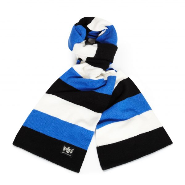Savile Rogue Blue, Black and White Minibar Cashmere Football Scarf