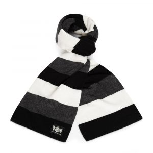 Savile Rogue Black, White and Grey Minibar Cashmere Rugby Scarf