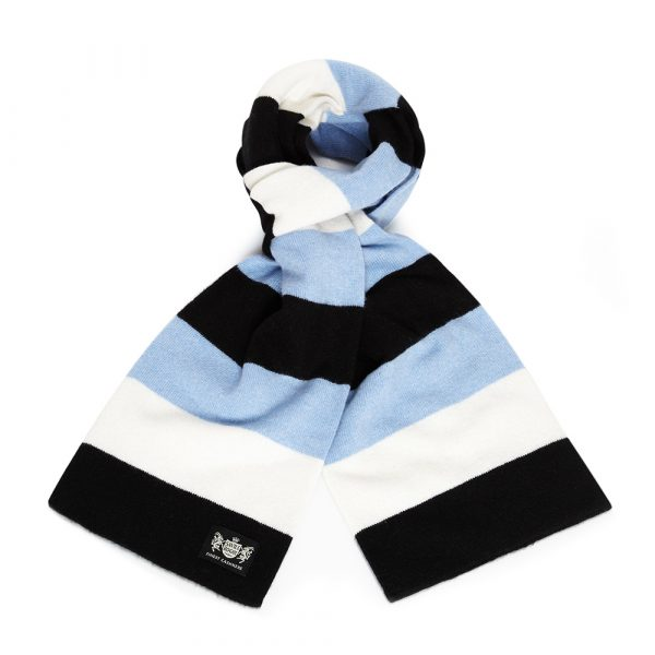 Savile Rogue Black, Sky Blue and White Minibar Cashmere Football Scarf