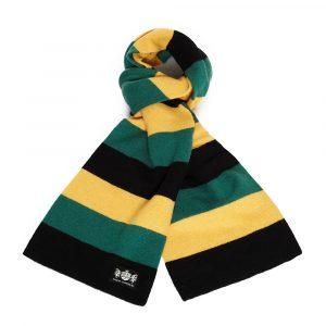 Savile Rogue Black, Green and Gold Minibar Cashmere Football Scarf