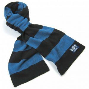 Savile Rogue Black and Petrol Blue Minibar Cashmere Football Scarf