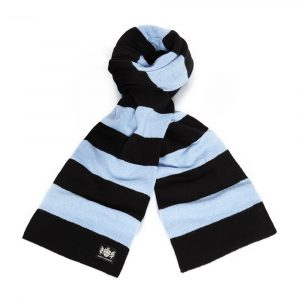 Savile Rogue Black and Sky Blue Minibar Cashmere Football Scarf
