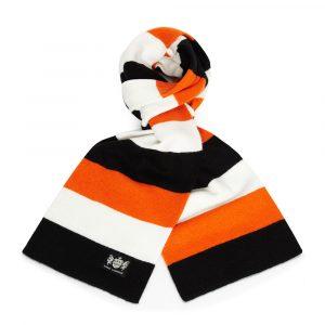 Savile Rogue Black, White and Orange Minibar Cashmere Football Scarf