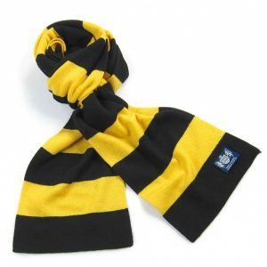 Savile Rogue Black and Yellow Minibar Cashmere Football Scarf