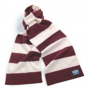 Claret and White Minibar Cashmere Football Scarf
