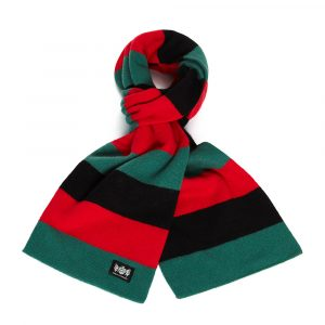 Savile Rogue Green, Black and Red Minibar Cashmere Football Scarf