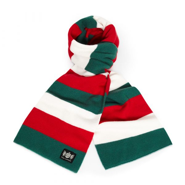 Savile Rogue Green, Red and White Minibar Cashmere Football Scarf