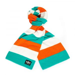 Savile Rogue Green, White and Orange Minibar Cashmere Football Scarf