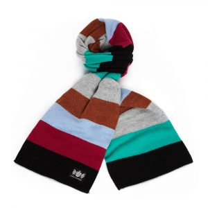 Harlequins Savile Rogue Black, Magenta, Light Blue, Brown, Grey and Green Minibar Cashmere Rugby Scarf