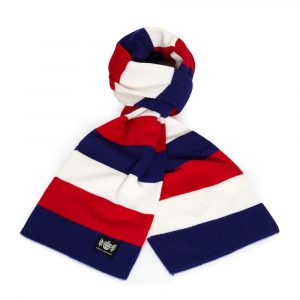 Savile Rogue Navy Red and White Minibar Cashmere Football Scarf