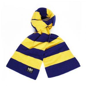 Savile Rogue Navy Blue and Yellow Minibar Cashmere Football Scarf