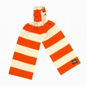 Orange and White Minibar Cashmere Football Scarf