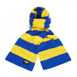 Savile Rogue Royal Blue and Yellow Minibar Cashmere Football Scarf