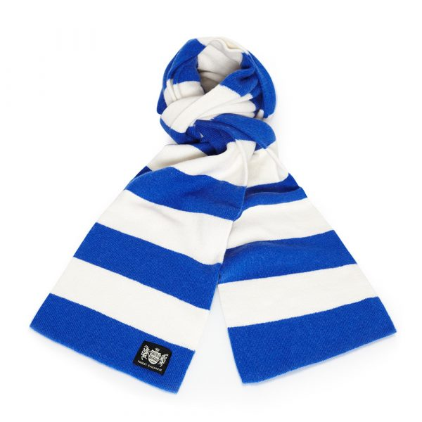 Savile Rogue Royal Blue and White Minibar Cashmere Football Scarf