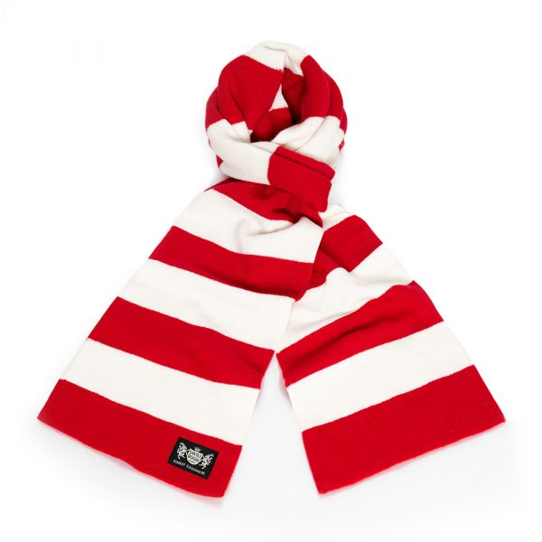 Savile Rogue Red and White Minibar Cashmere Football Scarf