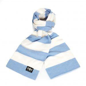 Savile Rogue Sky Blue and White Minibar Cashmere Football Scarf