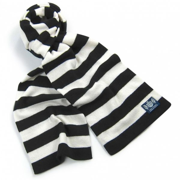 Black and White Microbar Cashmere Football Scarf
