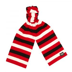 Savile Rogue Red, Black and White Microbar Cashmere Football Scarf