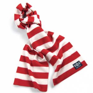 Savile Rogue Red and White Microbar Cashmere Football Scarf