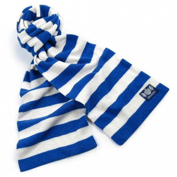 Savile Rogue Royal Blue and White Microbar Cashmere Football Scarf