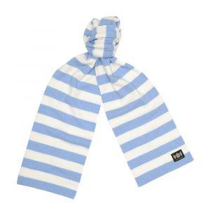 Savile Rogue Sky Blue and White Microbar Cashmere Football Scarf