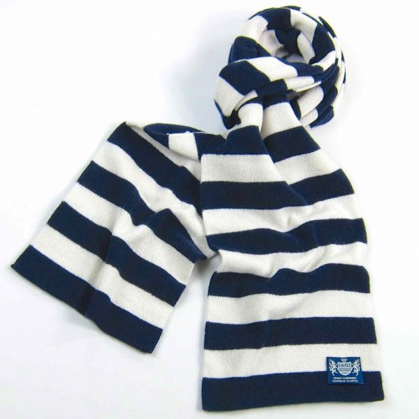 Savile Rogue Navy and White Microbar Cashmere Football Scarf