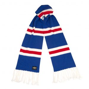 Savile Rogue Blue Red and White Superking Cashmere Football Scarf