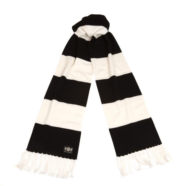 Savile Rogue Black and White Superking Cashmere Football Scarf