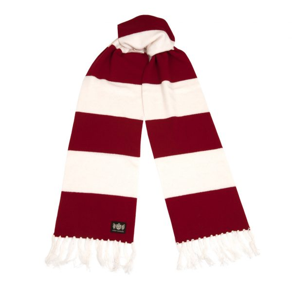 Claret and White Superking Cashmere Football Scarf