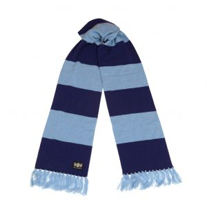 Savile Rogue Navy and Sky Superking Cashmere Football Scarf