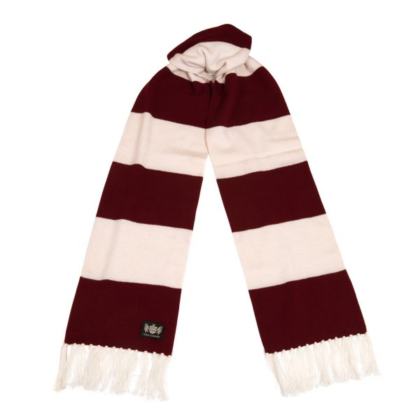 Savile Rogue Maroon and White Superking Cashmere Football Scarf
