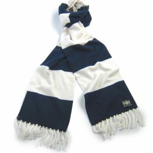 Savile Rogue Navy and White Superking Cashmere Football Scarf