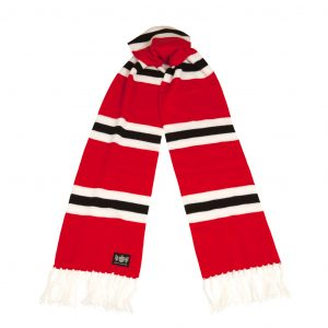 Savile Rogue Red White and Black Superking Cashmere Football Scarf