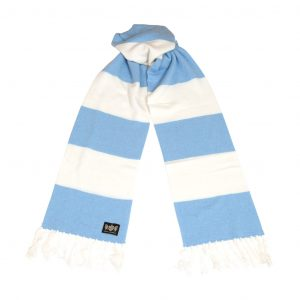 Savile Rogue Sky Blue and White Superking Cashmere Football Scarf