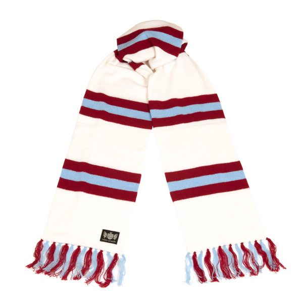 Savile Rogue White Claret and Sky Blue Superking Cashmere Football Scarf