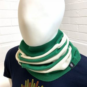 Savile Rogue Cashmere Snood in Green and White