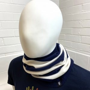 Savile Rogue Cashmere Snood in Navy and White
