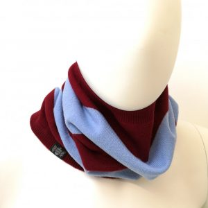 Savile Rogue Snood in Claret and Sky Blue
