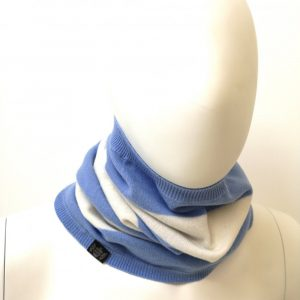 Savile Rogue Snood in Sky Blue and White