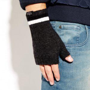 Savile Rogue Wrist Warmers: Charcoal Black White
