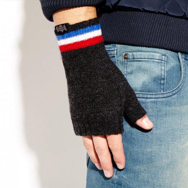 Savile Rogue Wrist Warmers: Charcoal Royal Blue White Red
